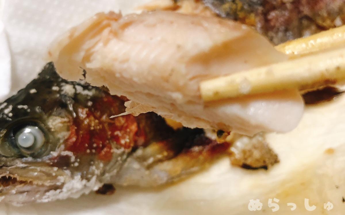 ニジマスの塩焼きを食べる様子