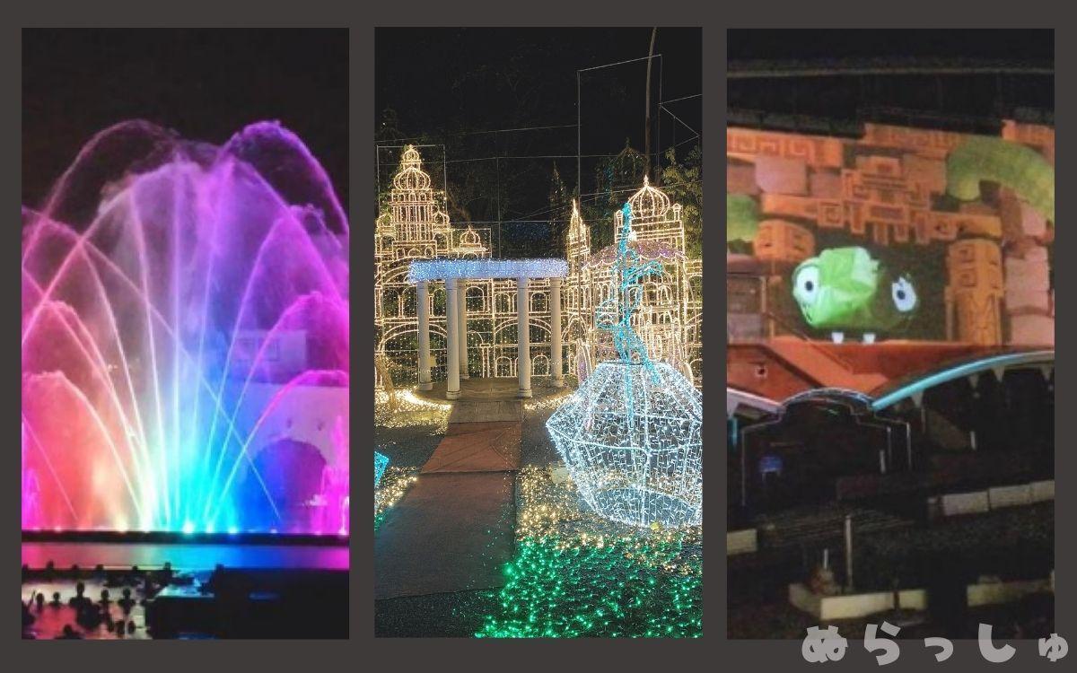 杉乃井ホテルの光の演出の写真