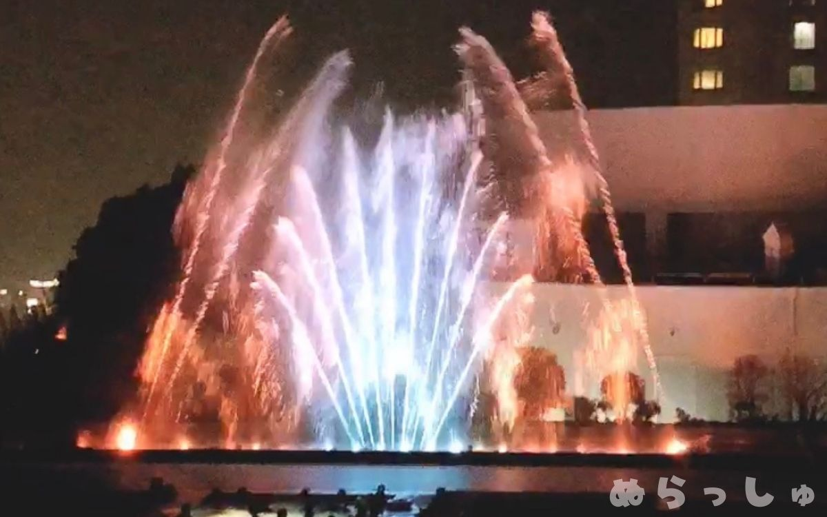 杉乃井ホテルの噴水ショーの写真