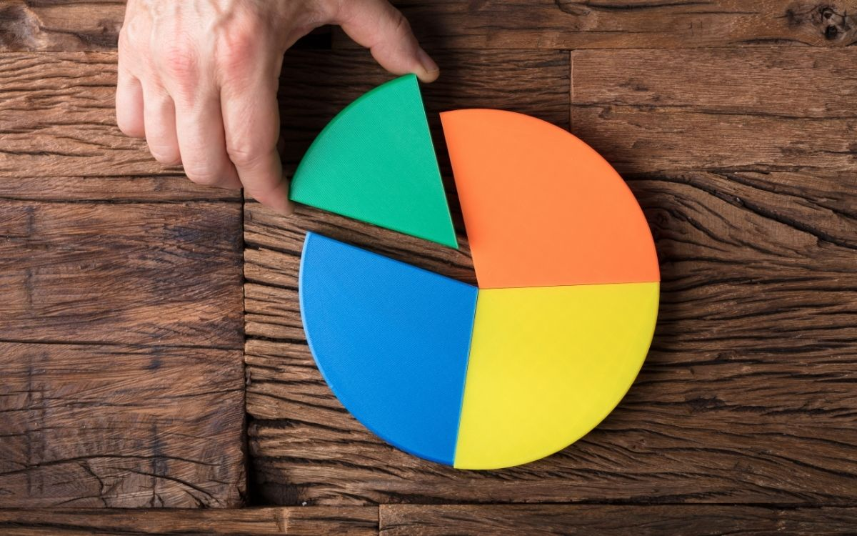 机に置かれた円グラフの模型