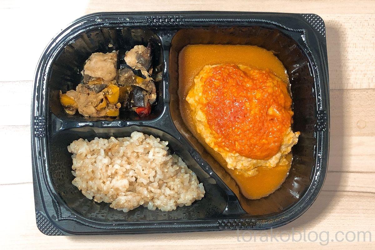 マッスルデリ・豆腐ハンバーグと味噌炒めセット