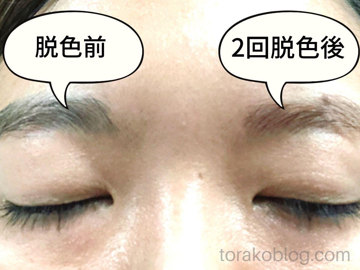 エピラット脱色クリーム(敏感肌用)で眉毛脱色した結果