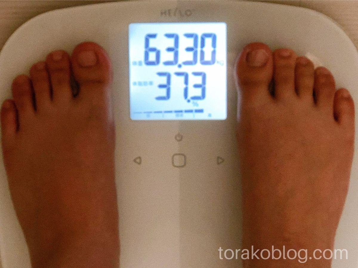 優光泉で1日間断食・1日目の体重