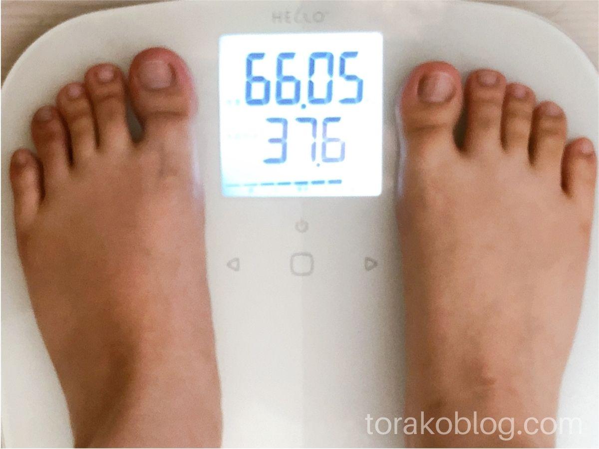 優光泉で3日間ファスティング・回復期3日目の体重