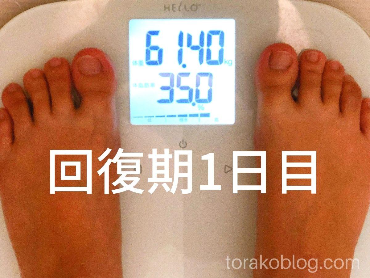 優光泉で5日間ファスティング・回復期1日目の体重