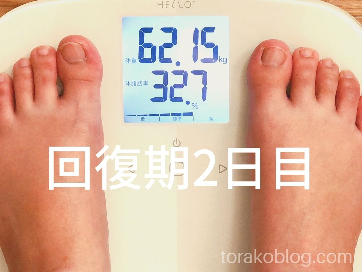 優光泉で5日間ファスティング・回復期2日目の体重